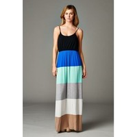 Color Block Maxi Dress- Navy