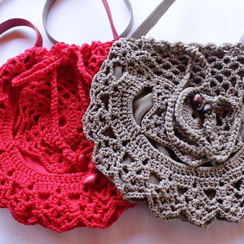 Crochet Bag - Handmade Red Bag - Hand Knitted Beige Bag - With Leather Handle Bag