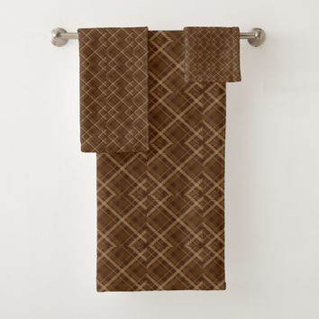 Brown abstract pattern bath towel set