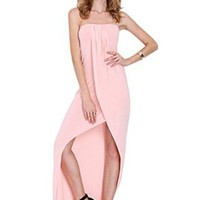 Women's Sexy off Shoulder Strapless Slit Long Maxi Party Dress