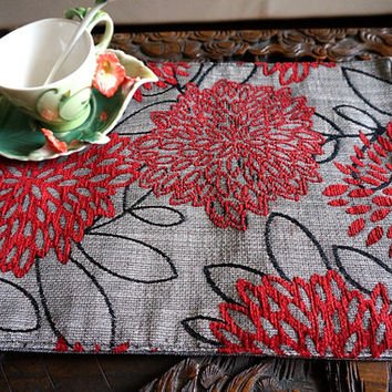 Red Floral embroidered Placemat designer reversible placemat floral tablecloth reverse to taupe placemat