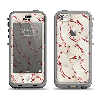 The Baseball Overlay Apple iPhone 5c LifeProof Nuud Case Skin Set