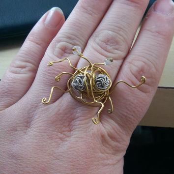Flying Spaghetti Monster FSM Ring Custom ALL SIZES Atheist Atheism Pastafarian Pastafarianism Religious Satire Jewelry Geekery Free Shipping