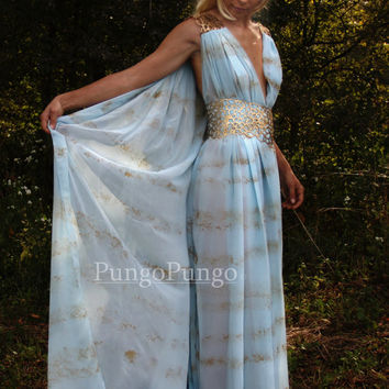 Daenerys Targaryen Qarth Dress Khaleesi Costume - Custom Made Ocean Mist Blue Gown, Belt, & Beads - Cosplay Masquerade Game of Thrones
