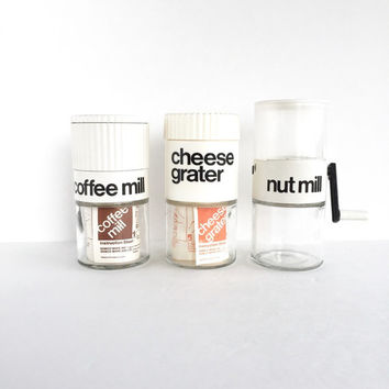 Set of 3 Vintage Gemco Handheld Kitchen Gadgets, Modern Gemco Cheese Grater Nut Mill and Coffee Mill