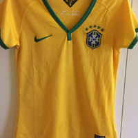 Sale! Vintage Nike Brasil soccer Jersey Brazil Football Shirt women's Medium Free US shipping