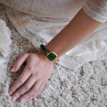 valentine day jewelry light large stone gemstone handmade bracelet gold bright  EMERALD GREEN natural silk israel jewelry