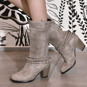 Vintage Mid Calf Boots With Weaving and Buckle Design