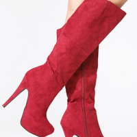 Burgundy Faux Suede Knee High Platform Stiletto Boots