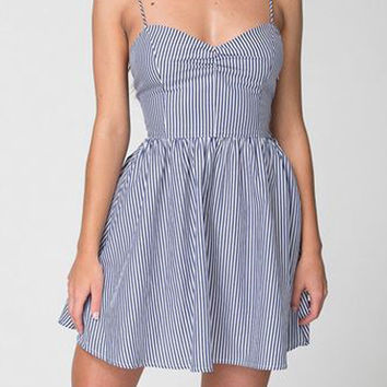 Stripe Spaghetti Strap Skater Dress