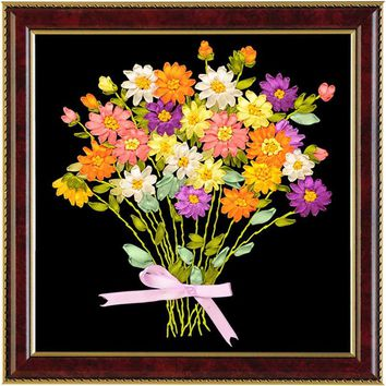 3D ribbon embroidery needlework dmc flowers patterns rose Cross-Stitching kit