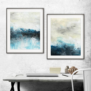 Set of 2 digital prints printable art wall decor instant download diptych art abstract digital print painting blue modern artwork decor