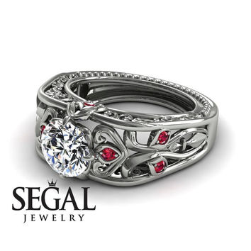 Diamond ring 14K Yellow Gold Art Deco Ring Filigree Ring White diamond With Ruby - Skyler