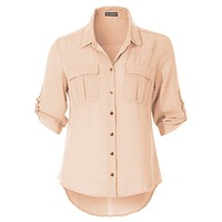 Soft Button Down 3/4 Roll Up Sleeve Chiffon Blouse Top with Pockets