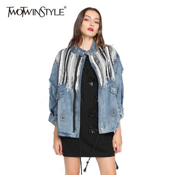 TWOTWINSTYLE Spring Women Sequins Basic Denim Coats Female Ripped Hole Long Sleeves Jeans Jackets Windbreaker Oversized Clothes