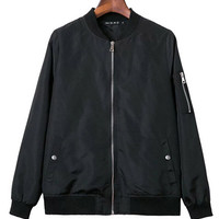 Black Bomber Jacket with Zip Detail