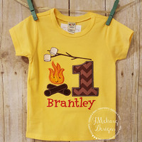 Happy Campfire Birthday - Camping Birthday Custom Tee Shirt - Customizable 82a