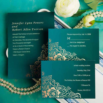 Green wedding invitation suit – Custom and personalized invitation cards – Free rsvp and envelopes EWI029