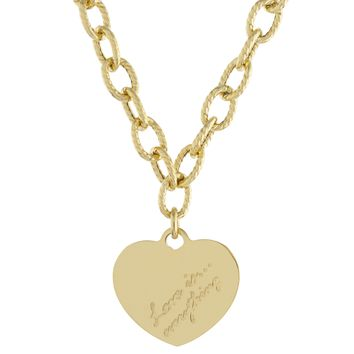 """Gold Over Sterling Silver """"Love Is...Everything"""" Heart Link Necklace"""