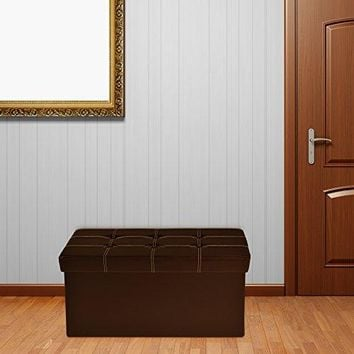 Ben&Jonah Collection Collapsible Tufted Storage Ottoman - Brown Faux Leather 30x15x15
