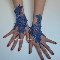 royal blue glove, Bridal Glove, royal blue lace gloves, lace gloves, wedding gloves, wedding lace gloves, Fingerless Gloves, bridal gloves l