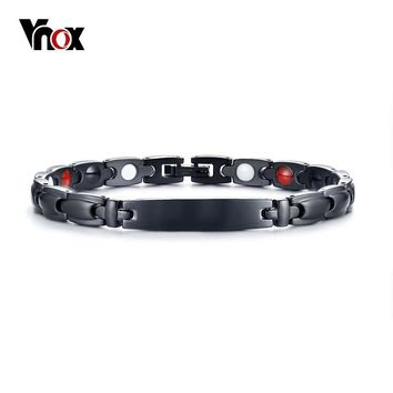 Vnox Black Health Bracelets Bangles for Women Men Magnetic Stainless Steel Bio Energy Germanium Bracelet Unisex Jewelry 7.87""