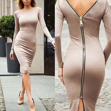 Sexy Bodycon Party Dress Women Elegant 2018 Summer Zippers Split Midi Club Dress Casual Evening Rockabilly Dress Black Vestidos