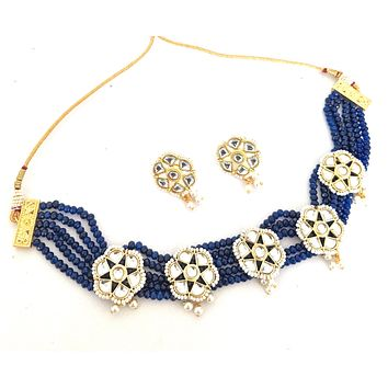 Kundan flower charm crystal bead chick choker necklace and earring set