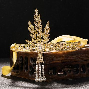 PEAPYV3 2016 New Bridal tiara Wedding Great Gatsby Charleston 1920s Vintage Pearls Headpiece Headband diadem gold leaf Pearl Crown