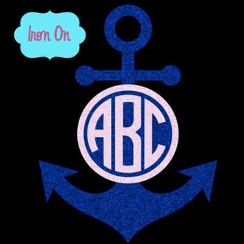 heat transfer decal, iron on decal, anchor iron on decal, wedding monograms, t-shirt decals, tote bag iron on decal, monogram heat transfer