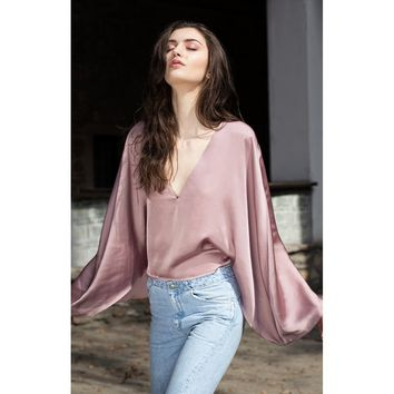 Pink Plunging Neckline Sleeves Shirt