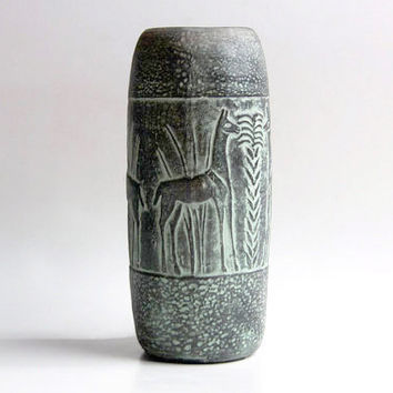 Tall Vintage German Studio Pottery Vase  (Lama Pattern) -  c.60s