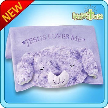 Qiyun Authentic Pillow Pet Prayer Bunny Blanket Plush Toy Gift