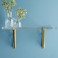 Brass Inlay Lucite Shelf