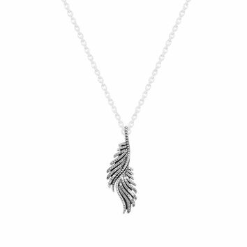 100% 925 Sterling-Silver-Jewelry Majestic Feather Pave CZ Pendant Necklace Chain Length 70CM Statement Necklace For Women