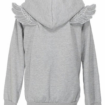 Grey Long Sleeve Angle Wings Pocket Zip Jacket - Sheinside.com