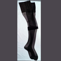 MOVING SALE Pin-up Stockings Smokin Black Burlesque Thigh High 60s Vintage Stockings Mad Men Medium RHT Nos 10x32
