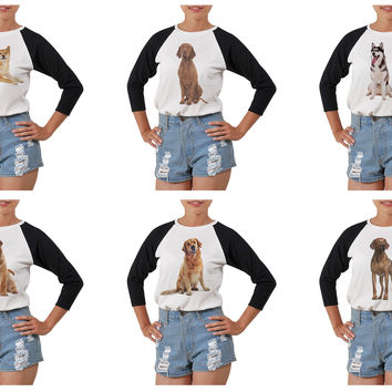 Women's Dogs-5 Printed Elbow Sleeves T- Shirt WTS_03