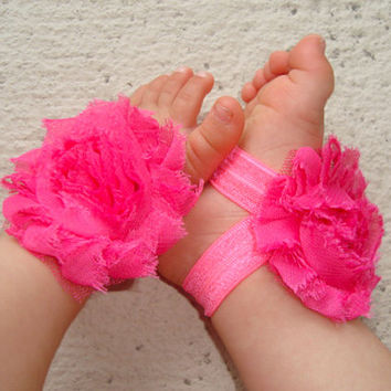 Baby Barefoot Sandals - Hot Pink Piggy Petals - Toe Blooms - Photo Props - Baby Shoes - Toddler Shoes - Newborn Shoes