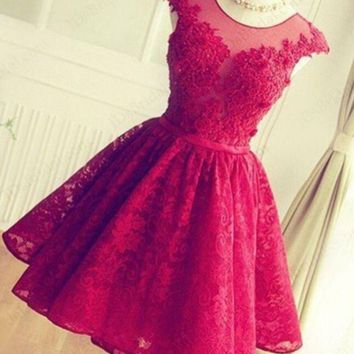 DCCKSP2 FASHION RED HANDMADE LACE SHINING RHINESTONE PROM PARTY DRESS