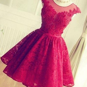 DCKKID4 FASHION RED HANDMADE LACE SHINING RHINESTONE PROM PARTY DRESS