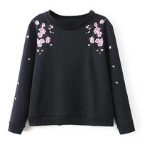 Black Floral Embroidered Sweatshirt