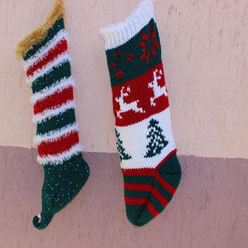 Knit Elf Stocking Christmas Elf Decor Gold Knit Stocking READY To SHiP Hand Knitted Stocking EXPRESSS SHiPPinNG