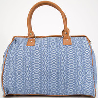 Jacquard Ethnic Print Duffle Bag Blue One Size For Women 24822420001