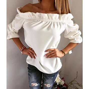 Women Blouse Puff Sleeve Slash Neck Solid Shirt Strapless Off Shoulder Ruffles