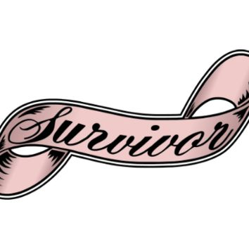 Survivor (pink) Breast Cancer Ribbon Tattoo Set