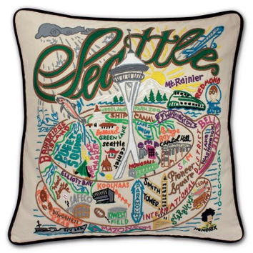Seattle Hand Embroidered Pillow
