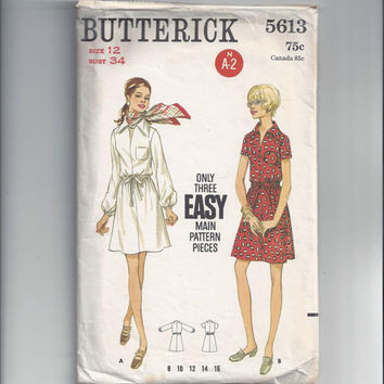 Butterick 5613 Pattern for Misses' 1-Piece Dress, Size 12, From Late 1960s, 3 Main Pattern Pieces, Short or Long Sleeves, Vintage Pattern