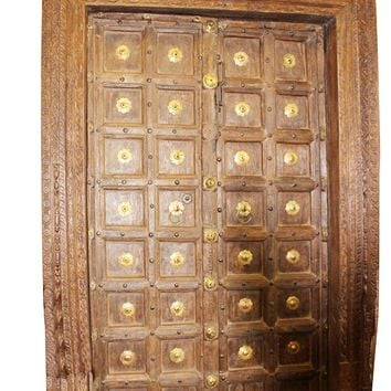 Mogul Interior Indian Antique Brass Medallion Carved Fish Haveli Double Doors