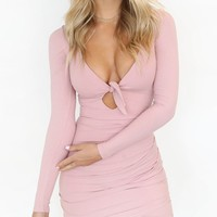 Pink Plunge Knot Front Cut Out Long Sleeve Bodycon Mini Dress